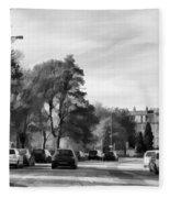Cars On A Street In Edinburgh Fleece Blanket