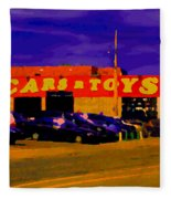 Cars R Toys Evening Rue St.jacques Used Cars Trucks Suvs Montreal Urban Scene Carole Spandau Fleece Blanket