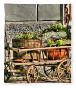 Cart And Flowers In Slovenia Fleece Blanket