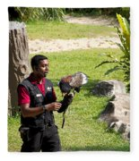 Cartoon - A Trainer And A Large Bird Of Prey At A Show Inside The Jurong Bird Park Fleece Blanket