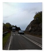 Cartoon - Car And Truck Crossing A Road Repair Section Of Highway In Scotland Fleece Blanket