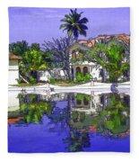 Cartoon - Cottages And Lagoon Water Fleece Blanket