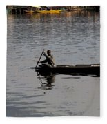Cartoon - Kashmiri Man Rowing A Small Wooden Boat In The Waters Of The Dal Lake Fleece Blanket
