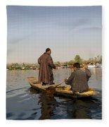 Cartoon - Kashmiri Men Plying A Wooden Boat In The Dal Lake In Srinagar Fleece Blanket