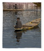 Cartoon - Kashmiri Men Rowing Many Small Wooden Boats In The Waters Of The Dal Lake Fleece Blanket