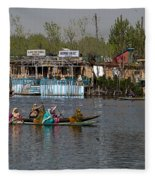 Cartoon - Ladies On 2 Wooden Boats On The Dal Lake With The Background Of Houseboats Fleece Blanket