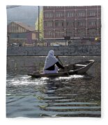 Cartoon - Light Following This Lady On A Wooden Boat On The Dal Lake In Srinagar Fleece Blanket