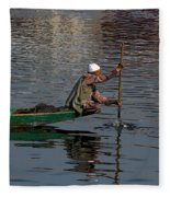 Cartoon - Man Plying A Wooden Boat On The Dal Lake Fleece Blanket