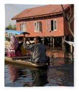 Cartoon - Man Rowing A Family In A Wooden Boat Fleece Blanket