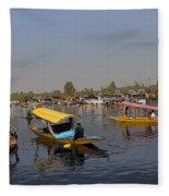Cartoon - Multiple Number Of Shikaras On The Water Of The Dal Lake In Srinagar Fleece Blanket
