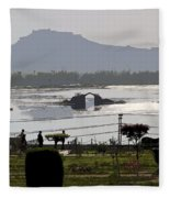 Cartoon - Shalimar Garden - The Dal Lake And Mountains In The Background In Srinagar Fleece Blanket