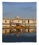 Cartoon - Shikara With Tourists Passing In Front Of A Large Houseboat In The Dal Lake Fleece Blanket