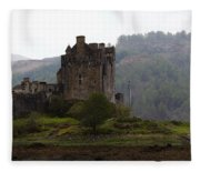 Cartoon - Structure Of The Eilean Donan Castle In Front With Dry Part Of Lake Fleece Blanket