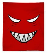 Cartoon Grinning Face With Evil Eyes Fleece Blanket