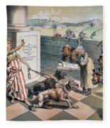 Cartoon Immigration, 1885 Fleece Blanket