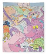 Cartoon Sea Creatures Fleece Blanket
