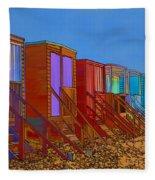 Cartoonised Beach Huts Fleece Blanket