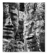 Carved Stone Faces In The Khmer Temple Fleece Blanket