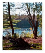 Cary Lake In The Fall Fleece Blanket
