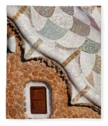 Casa Del Guarda Details In Park Guell Fleece Blanket