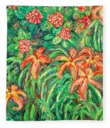 Cascading Day Lilies Fleece Blanket