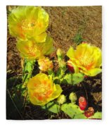 Cascading Prickly Pear Blossoms Fleece Blanket
