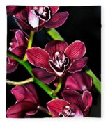 Cascading Red Orchids Fleece Blanket