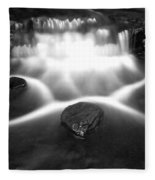 Cascading Waterfall Black And White Fleece Blanket