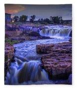 Cascading Waterfalls At Sunset Fleece Blanket
