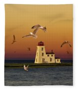 Cascumpec Lighthouse On Prince Edward Island Fleece Blanket