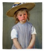 Cassatt's Child In A Straw Hat Fleece Blanket