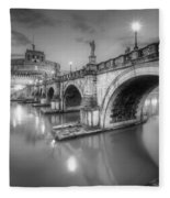 Castel Sant' Angelo Bw Fleece Blanket
