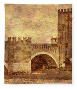 Castel Vecchio And Bridge In Verona Italy Fleece Blanket