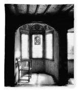Castle Room With Chair Bw Fleece Blanket