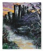 Castle Ruins At Dawn Fleece Blanket