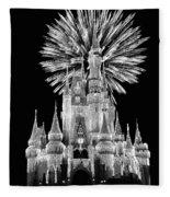 Castle With Fireworks In Black And White Walt Disney World Fleece Blanket