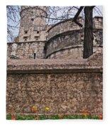Castle With Poppies Fleece Blanket