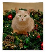 Cat And Christmas Wreath Fleece Blanket