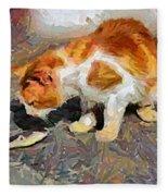 Cat  And Fish Fleece Blanket
