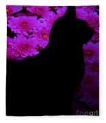 Cat And Flowers Midnight Silhouette Fleece Blanket