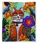 Cat And Four Birds Fleece Blanket