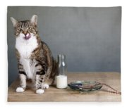 Cat And Herring Fleece Blanket