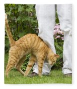 Cat Brushing Against Legs Fleece Blanket