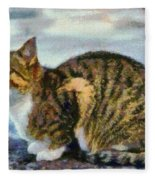 Cat By The Seaside Fleece Blanket
