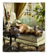 Funny Pet Talking On The Phone  Fleece Blanket