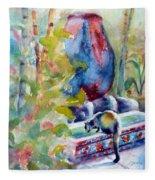 Cat Drinking Fountain Fleece Blanket