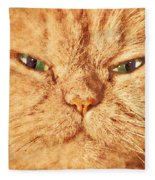 Cat Face Close Up Portrait. Painted Effect Fleece Blanket