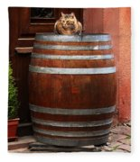 Cat Guarding A Wine Barrel In Alsace Fleece Blanket