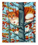 Orange Cat In Tree Autumn Fall Colors Fleece Blanket