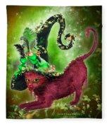 Cat In Fancy Witch Hat 2 Fleece Blanket
